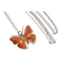 Sterling Silver Orange Enamel Butterfly Necklace 18 inch chain