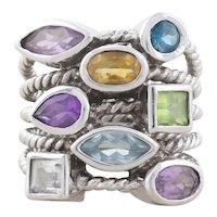 Sterling Silver Amethyst, Peridot, Citrine, Blue Topaz, White Topaz Band Ring size 6 1/2
