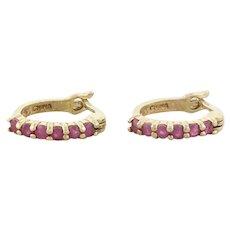 Petite Gold over Sterling Silver Natural Ruby Earrings Hoop Earrings