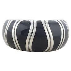 Sterling Silver Black Enamel Dome Band Ring size 6 3/4