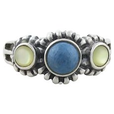 Sterling Silver Lapis Lazuli and Moonstone Ring size 9