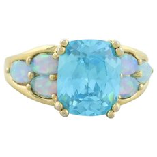 Gold over Sterling Silver Blue Quartz and Lab Opal Ring size 7