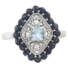 Sterling Silver Aquamarine and Blue Sapphire Ring  size 8 1/4