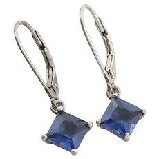Sterling Silver Blue CZ Earrings Dangle Drop Earrings