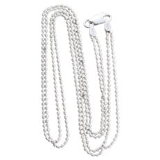 Sterling Silver Two Stranded Beaded Chain Necklace 16 inch chain