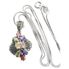 Sterling Silver Imitation Citrine, Peridot, Garnet, Amethyst , Marcasite Necklace 18 inch chain