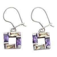 Sterling Silver Yellow and Purple CZ Earrings Dangle Drop Earrings