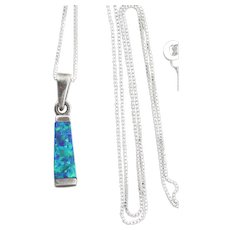 Sterling Silver Created Blue Green Opal Necklace 18 inch chain