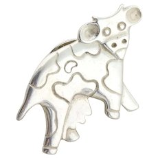 Sterling Silver Cow Pin Brooch