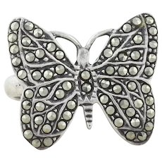 Sterling Silver Marcasite Butterfly Ring Size 5 3/4