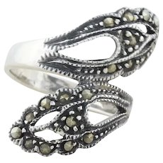 Sterling Silver Marcasite Bypass Spoon Ring Size 7 1/2