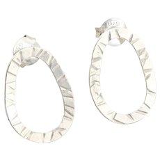 Sterling Silver Oval Stud Post Earrings
