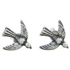 Sterling Silver Bird Earrings Post Stud Earrings