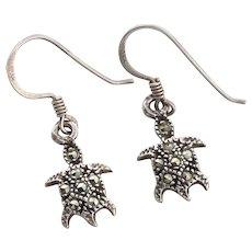 Sterling Silver Turtle Marcasite Earrings Dangle Drop Earrings