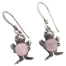 Sterling Silver Rose Quartz Frog Earrings Dangle Drop Earrings
