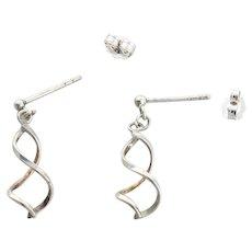 Sterling Silver Swirl Earrings Dangle Drop Earrings