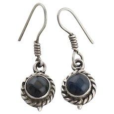 Sterling Silver Black Cats Eye Quartz Earrings Dangle Drop Earrings