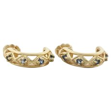 Gold over Sterling Silver Natural Blue Sapphire Earrings Hoop Earrings