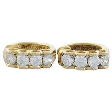 Gold Over Sterling Silver CZ Earrings Huggie Hoop Earrings