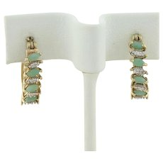 Gold over Sterling Silver Natural Emerald Earrings Hoop Earrings