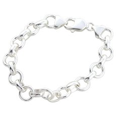 Sterling Silver Hollow Rolo Link Bracelet 7 inch Rhodium Coated