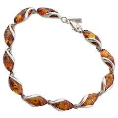 Sterling Silver Amber Bracelet 7 inch long