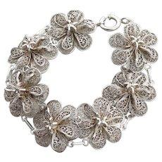 Sterling Silver Filigree Flower Link Bracelet