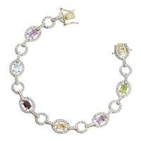 Gold over Sterling Silver Amethyst, Topaz, Garnet, Citrine, Peridot Gemstone Bracelet 7 1/4 inch
