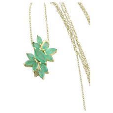 Gold over Sterling Silver Natural Emerald Necklace 20 inch chain