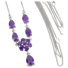 Sterling Silver Amethyst Flower Necklace 16 to 18 to 20 inch Adjustable chain