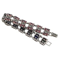 Sterling Silver Heavy Garnet and Marcasite Bracelet 7 1/4 inch long