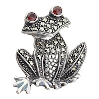 Sterling Silver Frog Garnet and Marcasite Pin Lapel Pin Brooch