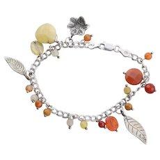 Sterling Silver Leaf Charm Orange, Red,Yellow, Quartz Beads Bracelet 7 inch