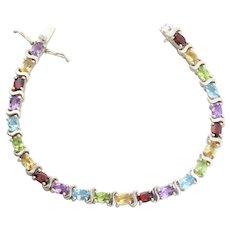 Sterling Silver Amethyst, Topaz, Garnet, Citrine, Peridot Garnet Gemstone Tennis Bracelet 7 1/4 inch