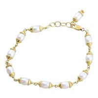 Gold over Sterling Silver Cultured Pearl Bracelet 7 to 7 3/4 inch