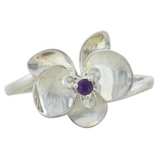 Sterling Silver Amethyst Flower Ring  size 10