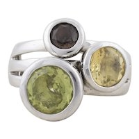 Sterling Silver Amethyst, Peridot, Citrine, Ring size 8 1/4