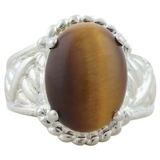 Sterling Silver Tiger's Eye Ring Size 8 1/4