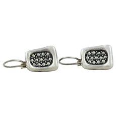 Sterling Silver Marcasite Earrings Dangle Drop Earrings
