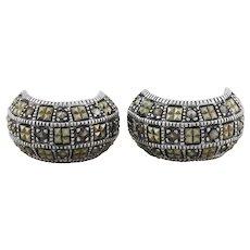 Sterling Silver Large Marcasite Earrings Hoop Earrings