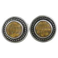 Sterling Silver Dark Yellow Cubic Zirconia Earrings Stud Post Earrings