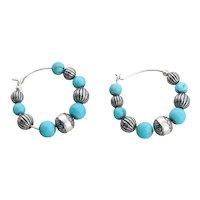 Sterling Silver Created Turquoise Bead Hoop Earrings