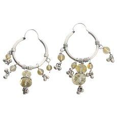 Sterling Silver Citrine Earrings Dangle Drop Earrings