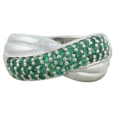 Sterling Silver Natural Green Emerald Band Ring Size 11
