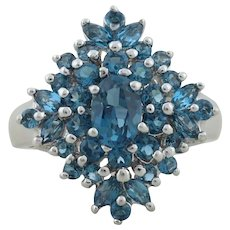 Sterling Silver London Blue Topaz Ring size 7 1/4