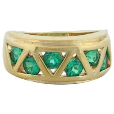 Gold over Sterling Silver Lab Created Emerald Band Ring Size 6 1/4