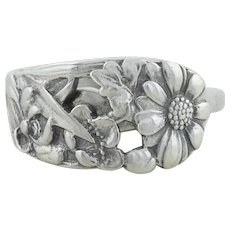 Sterling Silver Daisy Flower Spoon Ring size 8 3/4
