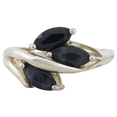 Sterling Silver Natural Blue Sapphire Cluster Ring size 7 1/4
