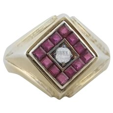 Mens Gold Over Sterling Silver Ruby and CZ Ring Size 11 3/4