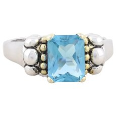 Sterling Silver Blue Cz Ring Size 8 1/4